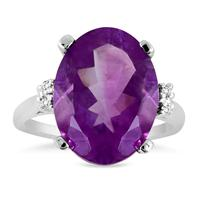 8.50 Carat Oval Shape Amethyst and Diamond Ring in .925 Sterling Silver