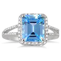 4.50 Carat Emerald Cut Blue Topaz and Diamond Ring in .925 Sterling Silver