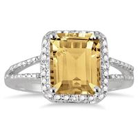 4.50 Carat Emerald Cut Citrine and Diamond Ring in .925 Sterling Silver