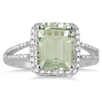 4.50 Carat Emerald Cut Green Amethyst and Diamond Ring in .925 Sterling Silver