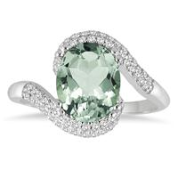 2.50 Carat Oval Shaped Green Amethyst and Diamond Curve Ring in 10K White Gold