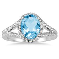 2 Carat Blue Topaz and Diamond Ring in 10K White Gold