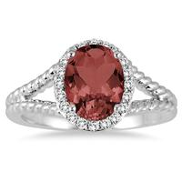 2 Carat Garnet and Diamond Ring in 10K White Gold