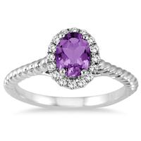 1.00 Carat Amethyst and Diamond Halo Rope Ring in 10K White Gold