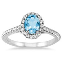 1.00 Carat Blue Topaz and Diamond Halo Rope Ring in 10K White Gold