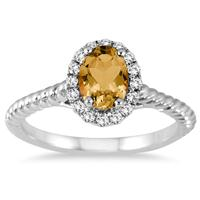 1.00 Carat Citrine and Diamond Halo Rope Ring in 10K White Gold