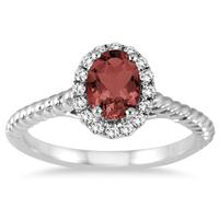 1.00 Carat Garnet and Diamond Halo Rope Ring in 10K White Gold