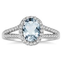 1 1/4 Carat Oval Aquamarine and Diamond Ring in 10K White Gold