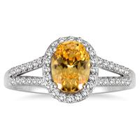 1.25 Carat Oval Citrine and Diamond Ring in 10K White Gold