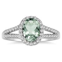 1 1/4 Carat Oval Green Amethyst and Diamond Ring in 10K White Gold