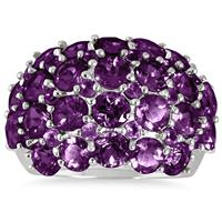 6.75 Carat Amethyst Estate Cluster Band in .925 Sterling Silver