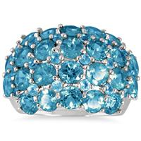 7 Carat Blue Topaz Estate Ring in .925 Sterling Silver