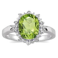 2.50 Carat Natural Peridot and Diamond Royal Ring in .925 Sterling Silver