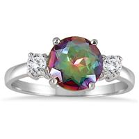 2.50 Carat Rainbow and White Topaz Ring in .925 Sterling Silver