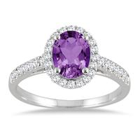 Amethyst and Diamond Halo Ring in 10K White Gold