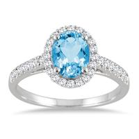 1.50 Carat Oval Blue Topaz and Diamond Halo Ring in 10K White Gold