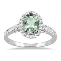 Green Amethyst and Diamond Halo Ring in 10K White Gold