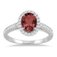 Garnet and Diamond Halo Ring in 10K White Gold