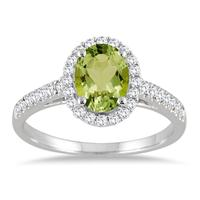 1.50 Carat Oval Peridot and Diamond Halo Ring in 10K White Gold