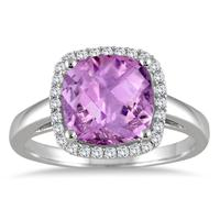 3.50 Carat Cushion Cut Amethyst and Diamond Halo Ring in 10K White Gold