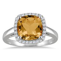 2.80 Carat Cushion Cut Citrine and Diamond Halo Ring in 10K White Gold