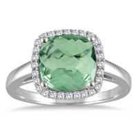 2.90 Carat Cushion Cut Green Amethyst and Diamond Halo Ring in 10K White Gold