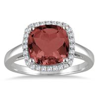 3 1/2 Carat Cushion Cut Garnet and Diamond Halo Ring in 10K White Gold