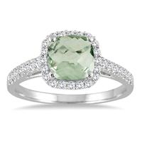 1.75 Carat Cushion Cut Green Amethyst and Diamond Ring in 10K White Gold