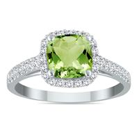 1.75 Carat Cushion Cut Peridot and Diamond Ring in 10K White Gold