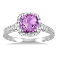 5MM Cushion Cut Amethyst and Diamond Halo Ring in 10K White Gold