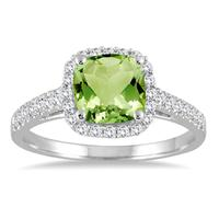 5MM Cushion Cut Peridot and Diamond Halo Ring in 10K White Gold