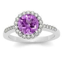 7MM Round Amethyst and Diamond Halo Ring in 14K White Gold