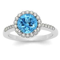 7MM Round Blue Topaz and Diamond Halo Ring in 14K White Gold