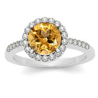 7MM Round Citrine and Diamond Halo Ring in 14K White Gold