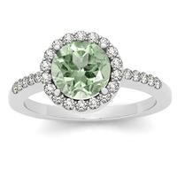 7MM Round Green Amethyst and Diamond Halo Ring in 14K White Gold