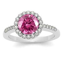 7MM Round Pink Topaz and Diamond Halo Ring in 14K White Gold