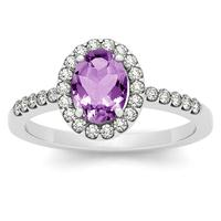 1.10 Carat Oval Amethyst and Diamond Halo Ring in 14K White Gold
