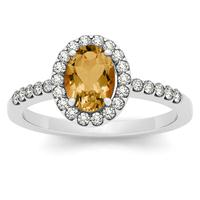 1.10 Carat Oval Citrine and Diamond Halo Ring in 14K White Gold