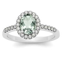 1.10 Carat Oval Green Amethyst and Diamond Halo Ring in 14K White Gold