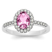 1.10 Carat Oval Pink Topaz and Diamond Halo Ring in 14K White Gold