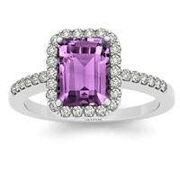 2.50 Carat Amethyst and Diamond Halo Ring in 14K White Gold