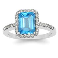 2.50 Carat Blue Topaz and Diamond Halo Ring in 14K White Gold