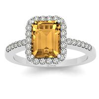 2.50 Carat Citrine and Diamond Halo Ring in 14K White Gold