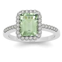 2.50 Carat Green Amethyst and Diamond Halo Ring in 14K White Gold