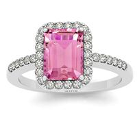 2.50 Carat Pink Topaz and Diamond Halo Ring in 14K White Gold