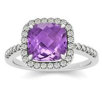 1.50 Carat Cushion Amethyst and Diamond Halo Ring in 14K White Gold