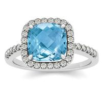 1.50 Carat Cushion Blue Topaz and Diamond Halo Ring in 14K White Gold