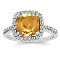 1.50 Carat Cushion Citrine and Diamond Halo Ring in 14K White Gold