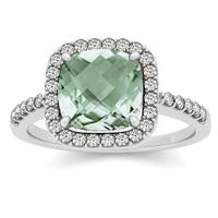 1.50 Carat Cushion Green Amethyst and Diamond Halo Ring in 14K White Gold
