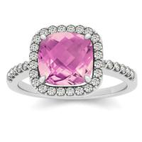 1.50 Carat Cushion Pink Topaz and Diamond Halo Ring in 14K White Gold